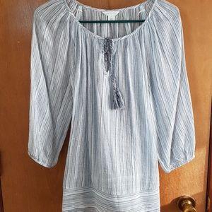 Caslon blue stripe peasant blouse